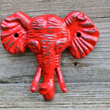 "Red ""ELEPHANT"" cast iron Wall Hook by AquaXpressions"