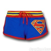 Superman Juniors Striped Logo Short Shorts