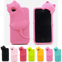 3D Cute Kiki Cat Silicone Rubber Soft Back Case Cover for Apple iphone 4 4S