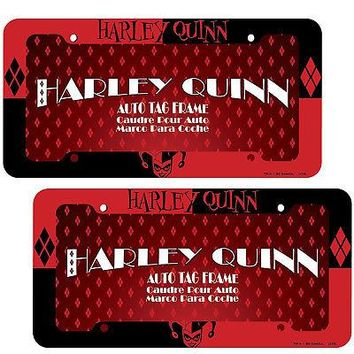 Licensed Official New 2pc Harley Quinn Classic Car Truck Automotive License Plate Frame Front Back