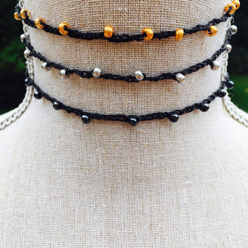 Delicate Choker Thin Choker necklace Bead Crochet bridesmaid yoga beach boho jewelry bohemian choker beaded black  women gift custom choker