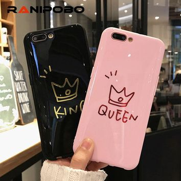Trendy Glossy Crown KING QUEEN Letter  Phone Case For iPhone 6 6S Plus Soft TPU Back Cover Cases For iPhone X 8 7 6S Plus Coque AT_94_13