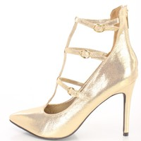 Gold Pointed Toe Strappy Single Sole Heels Faux Suede