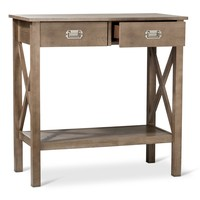 "Threshold™ Rustic ""X"" Console Table - Weathered Wood"
