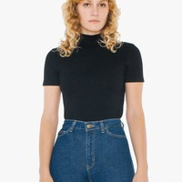 Ponte Mock Neck Short Sleeve Top | American Apparel