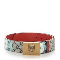 Gucci Womens Blooms GG Canvas Leather Tiger Head Buckle Belt Size 90/36 546384