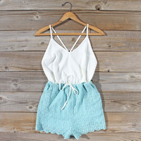 Sea Lace Romper in Sky