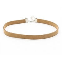 Thin Leather Choker - Brown