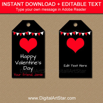 Instant Download Valentines Day Tags, Red Heart Tags, Valentines Day Gift Tags, Tags for Him, Black and Red Tags, Printable Tag Template V3
