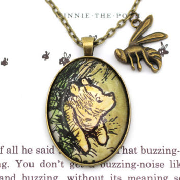 Winnie the Pooh 'Pooh Got Stuck' Classic Pooh Illustration Necklace