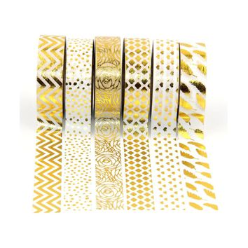 NEW 6X 15mm gold foil washi tapes set for Christmas Print DIY Deco Masking wave,dot,leaf,heart,flower Washi Tape Paper 10m
