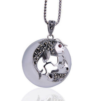 White Cat Eye Crystal Gemstone Pendant Thai Silver Swim for Women w/ SILVER CHAIN