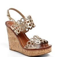 Tory Burch 'Nori' Metallic Leather Wedge Sandal