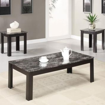 3 pc black finish wood and faux marble top coffee table set