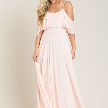 Petite Adele Blush Ruffle Maxi Dress