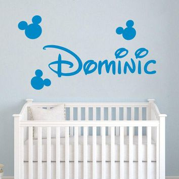 Custom Name Wall Decal Head Ears Wall Decor Personalized Boys Name Wall Sticker Baby Nursery Bedroom Wall Art Vinyl Mural A525