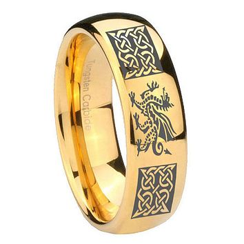 10MM Dome Multiple Dragon Celtic 14K Gold IP Shiny Tungsten Carbide Men's Ring