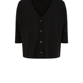 Black Ribbed Button Front 3/4 Sleeve Top | New Look