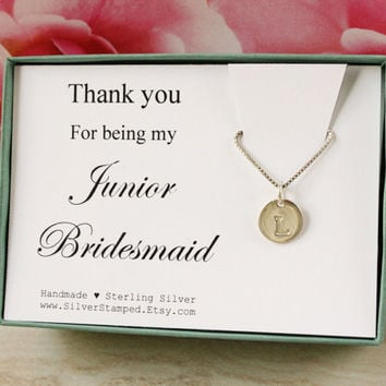 Thank you for being my Jr Bridesmaid personalized Junior bridesmaids gift silver initial necklace, gift for Jr bridesmaid jewelry gift box
