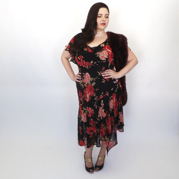 Plus Size Vintage 90s does 1920s Lawn Dress Rayon Summer Sundress Romantic Gown Black Red Rose Floral 30s Maxi Dress Beaded Flapper Art Deco