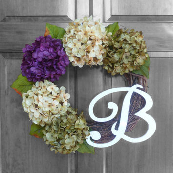 Everyday Wreath - Spring Wreath - Summer Wreath - Purple Hydrangeas Monogrammed Wreath - Initial Wreath - Front Door Wreaths - Housewarming