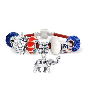 Republican Elephant Patriotic Charms Bracelet Leather Sterling Silver