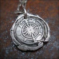 Mens Silver Compass Wax Seal Pendant, Nautical, Travelers, Talisman, Adventure Necklace,  Eco-friendly Mens Accessory