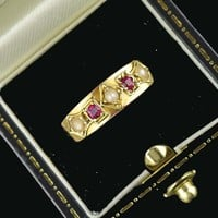 1870s Victorian 15K Gold Pearl & Ruby Ring