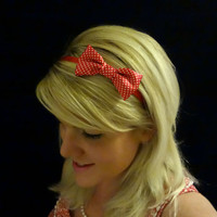 Set of two- you choose colors-small satin bow headband in red/black/white/turquoise/pink/green/polkadot/silver/blue and more