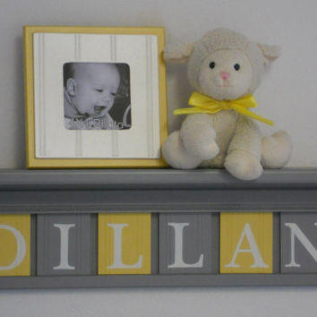 "Baby Boy Room Decoration Name Nursery Decor 24"" Gray Shelf and 6 Wooden Wall Letters Yellow and Grey - DILLAN"