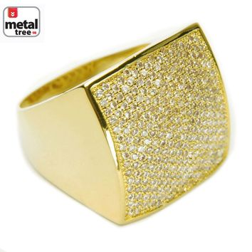 Jewelry Kay style Men's Bling Brass 14k Gold Plated All Around CZ Band Square Dome Pinky Rings