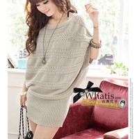 Beige Boat Neck Mid Sleeve Sweater Dress@T602