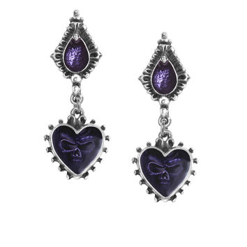 Alchemy Gothic Purple Mirror of the Soul Skull Earrings