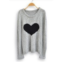 Heart Round Neck long sleeve sweater