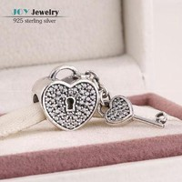 Clear Cz Pave Lock of Love Charms 925 Sterling Silver Jewelry Heart Key Beads For Jewe