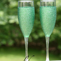 emerald green - Glitter Champagne Glasses (2)