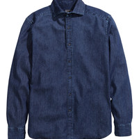 H&M - Denim Shirt in Premium Cotton - Dark blue - Men