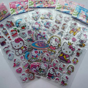 10 pcs/lot Cute hello kitty  3D DIY stationery stickers Kawaii kids stickers for girls Korean stationery office school supplies