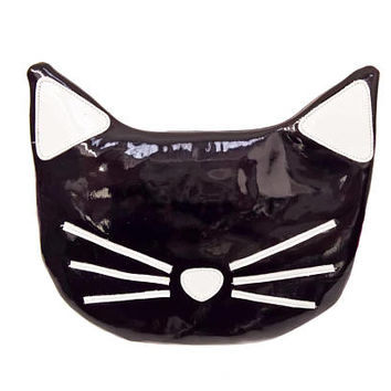 Black & White Patent Leather CAT Bag Purse Animal Handbag original design Handmade perfect Gift