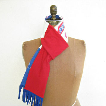 Philadelphia Phillies T Shirt Scarf / Unisex / Recycled / Upcycled / Red White Royal Blue / Handmade / Spring / Cotton / Soft / ohzie