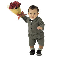 Infant boys vintage style suit romper 2 piece Church Wedding, Easter or Luncheon Ensemble, jacket and Faux suspenders