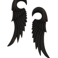0g 8mm Saba Wood Archangel Wings Hand Carved Organic Ear Gauges Hanger Plugs (Sold By Pair)