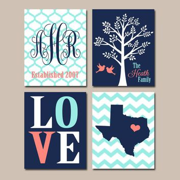 Personalized Family Wall Art, Custom Family Tree State, Navy Coral Aqua Monogram Initial LOVE Bird Tree Est Date Wedding Gift Set of 4