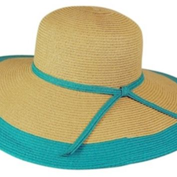Follow Me, Wide Brim Color Edged Straw Sun Hat