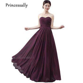 Princessally New Bridesmaid Dresses Dark Purple Sweetheart Pleat Floor-length Formal Cheap Prom Party Gown Custom Color Vestidos