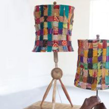 Lamp with Recycled Woven Kantha Fabric Shade with Recycled Wooden Rollin