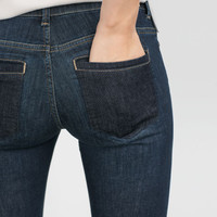 MID-RISE JEANS WITH CONTRASTING POCKETS