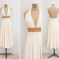 1970s Dress - Vintage 70s Cream Halter Backless Dress - Stay For A Song Dress