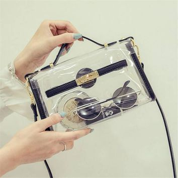 New design transparent bag transverse clear platinum package summer beach bag small tote shoulder bag crossbody bags for women