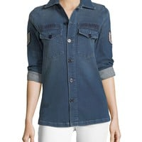 Etienne Marcel Adriana Button-Front Denim Shirt w/ Pilot Patches